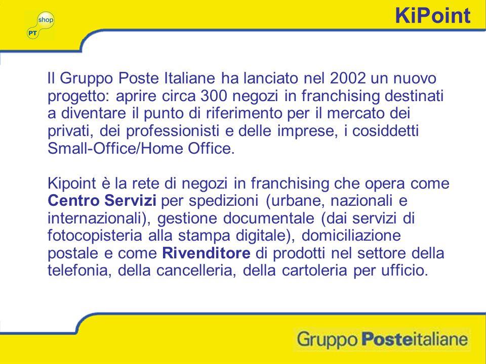 KiPoint Il Gruppo Poste Italiane ha lanciato nel 2002 un nuovo progetto: aprire circa 300 negozi in franchising destinati a diventare il punto di riferimento per il mercato dei privati, dei professionisti e delle imprese, i cosiddetti Small-Office/Home Office.