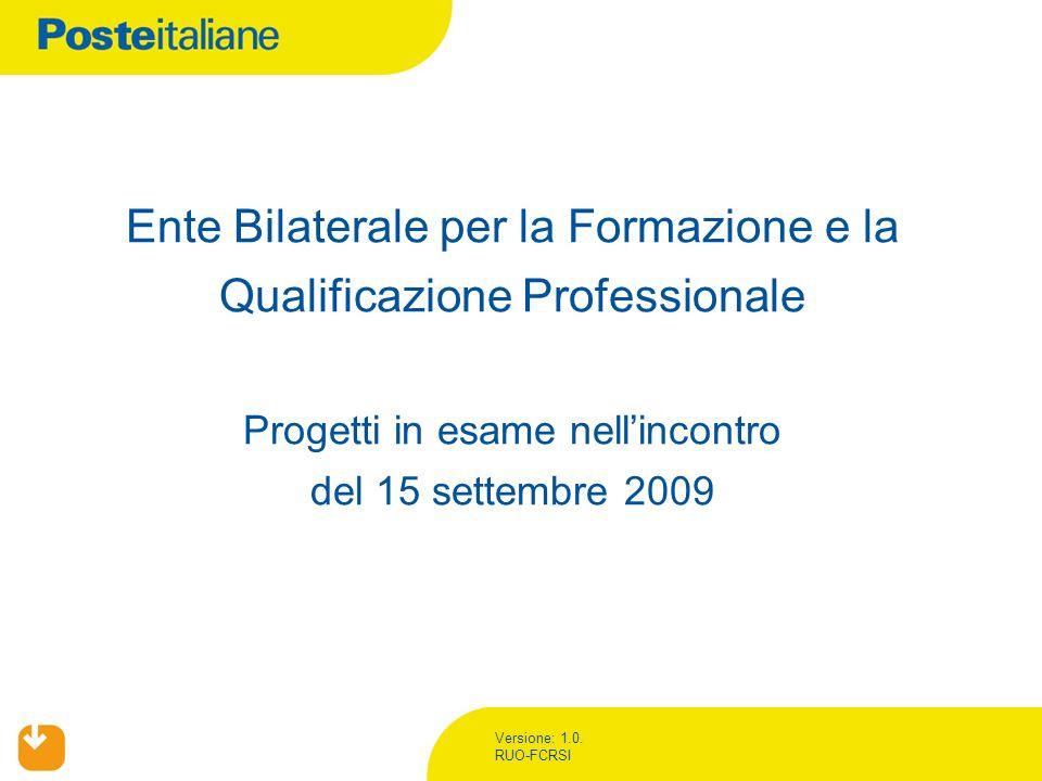 Versione: 1.0. RUO-FCRSI Ente Bilaterale per la Formazione e la Qualificazione Professionale Progetti in esame nellincontro del 15 settembre 2009
