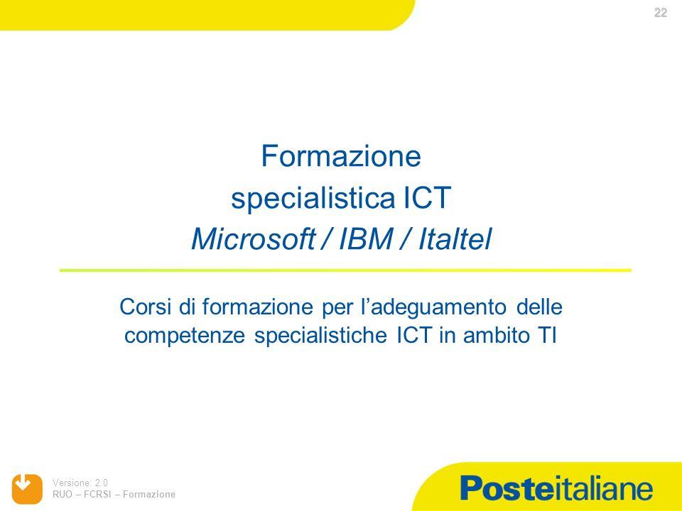 Versione: 2.0 RUO – FCRSI – Formazione Formazione specialistica ICT Microsoft / IBM / Italtel Corsi di formazione per ladeguamento delle competenze sp