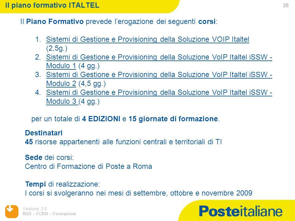 Versione: 2.0 RUO – FCRSI – Formazione il piano formativo ITALTEL Il Piano Formativo prevede lerogazione dei seguenti corsi: 1.Sistemi di Gestione e P