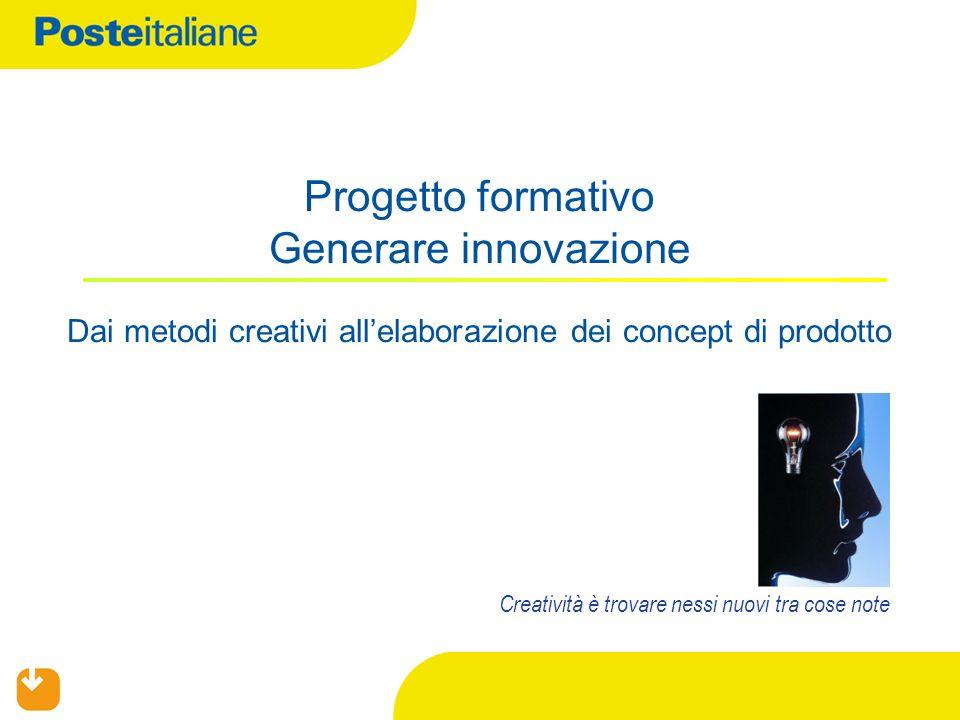 Progetto formativo Generare innovazione Dai metodi creativi allelaborazione dei concept di prodotto Creatività è trovare nessi nuovi tra cose note