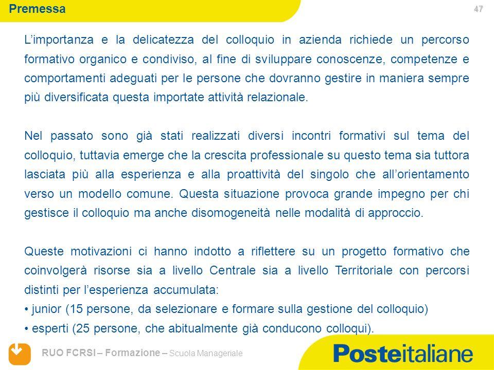 05/02/2014 RUO FCRSI – Formazione – Scuola Manageriale Premessa Limportanza e la delicatezza del colloquio in azienda richiede un percorso formativo o