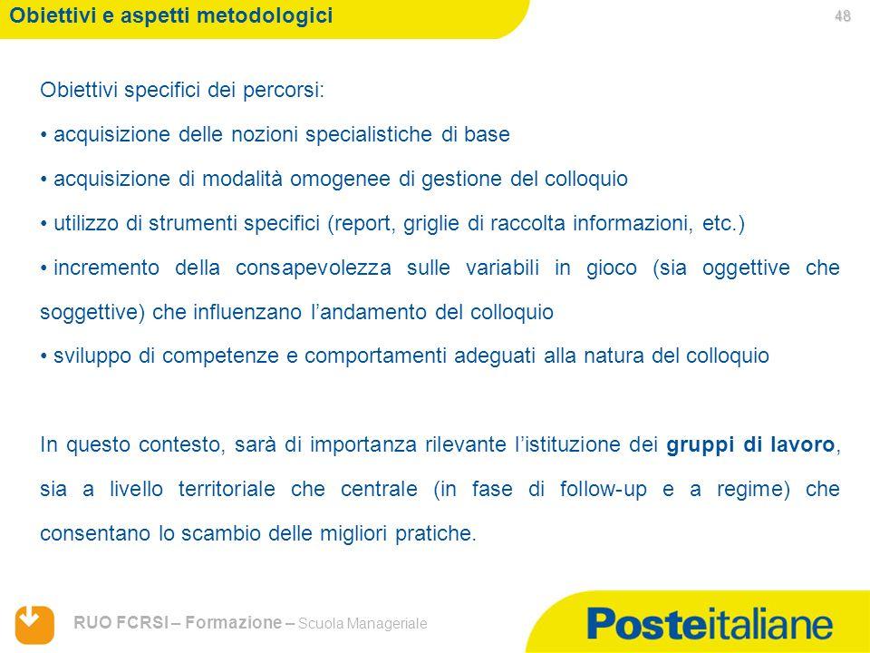 05/02/2014 RUO FCRSI – Formazione – Scuola Manageriale Obiettivi e aspetti metodologici Obiettivi specifici dei percorsi: acquisizione delle nozioni s