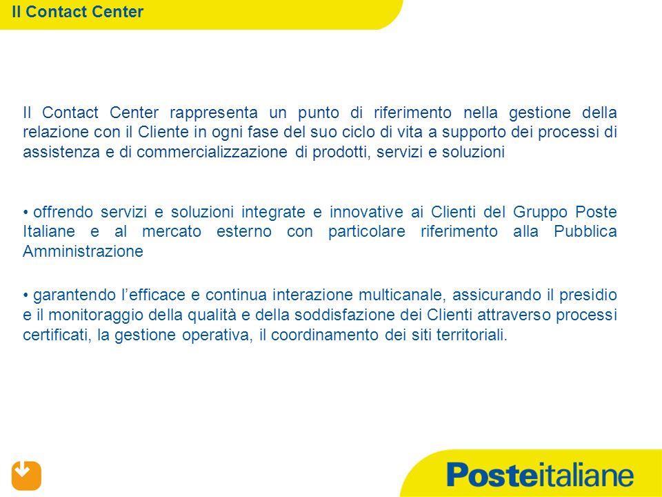 Il Contact Center Il Contact Center rappresenta un punto di riferimento nella gestione della relazione con il Cliente in ogni fase del suo ciclo di vi