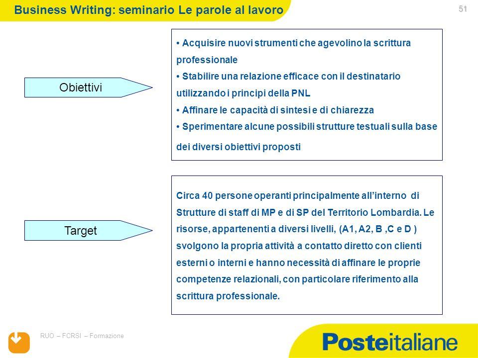 05/02/2014 RUO – FCRSI – Formazione 51 Acquisire nuovi strumenti che agevolino la scrittura professionale Stabilire una relazione efficace con il dest