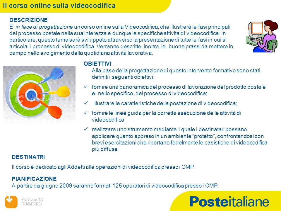 05/02/2014 Versione:1.0 RUO-FCRSI Il corso online sulla videocodifica DESCRIZIONE E in fase di progettazione un corso online sulla Videocodifica, che