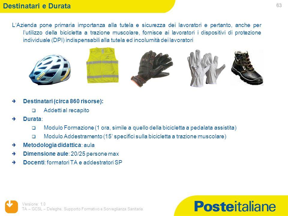 05/02/2014 Versione: 1.0 TA – GCSL – Deleghe, Supporto Formativo e Sorveglianza Sanitaria 63 LAzienda pone primaria importanza alla tutela e sicurezza