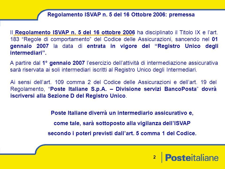 2 Regolamento ISVAP n. 5 del 16 Ottobre 2006: premessa Il Regolamento ISVAP n.