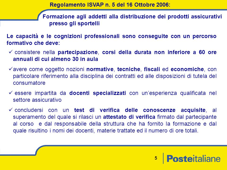 5 Regolamento ISVAP n.