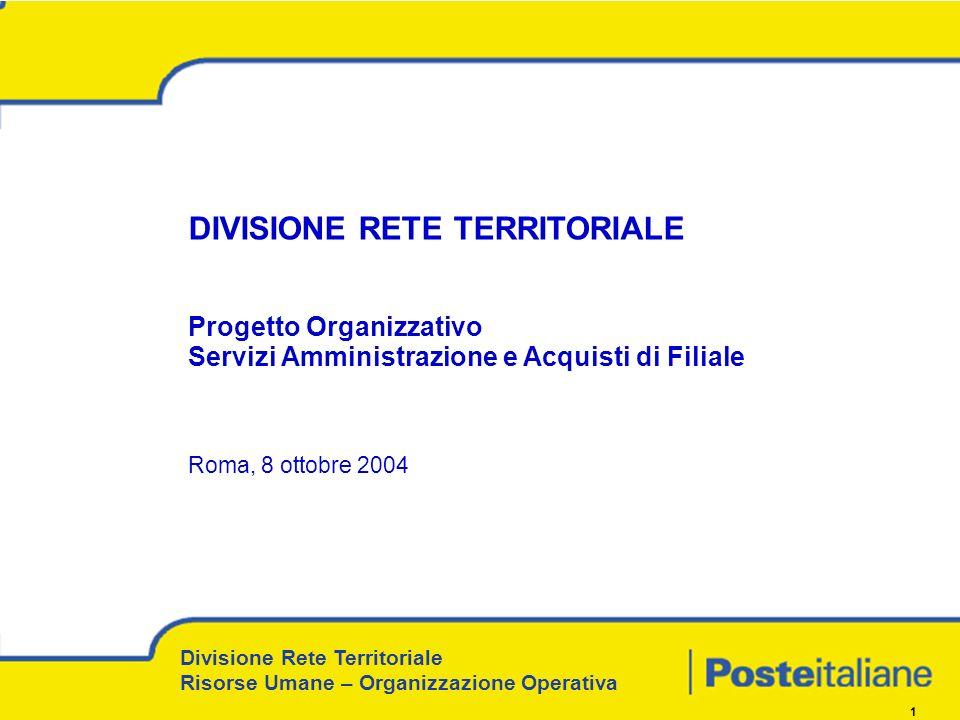 1 DIVISIONE RETE TERRITORIALE Progetto Organizzativo Servizi Amministrazione e Acquisti di Filiale Roma, 8 ottobre 2004 Divisione Rete Territoriale Risorse Umane – Organizzazione Operativa