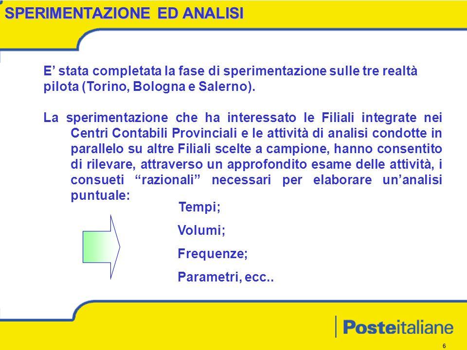 6 SPERIMENTAZIONE ED ANALISI E stata completata la fase di sperimentazione sulle tre realtà pilota (Torino, Bologna e Salerno).
