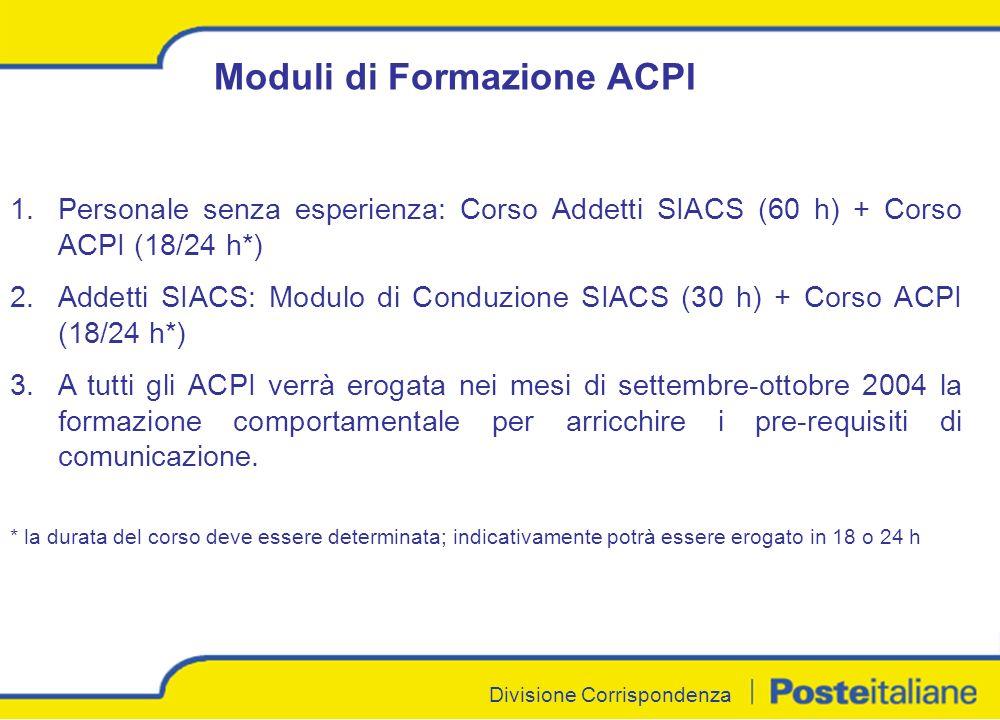 Divisione Corrispondenza Moduli di Formazione ACPI 1.Personale senza esperienza: Corso Addetti SIACS (60 h) + Corso ACPI (18/24 h*) 2.Addetti SIACS: Modulo di Conduzione SIACS (30 h) + Corso ACPI (18/24 h*) 3.A tutti gli ACPI verrà erogata nei mesi di settembre-ottobre 2004 la formazione comportamentale per arricchire i pre-requisiti di comunicazione.