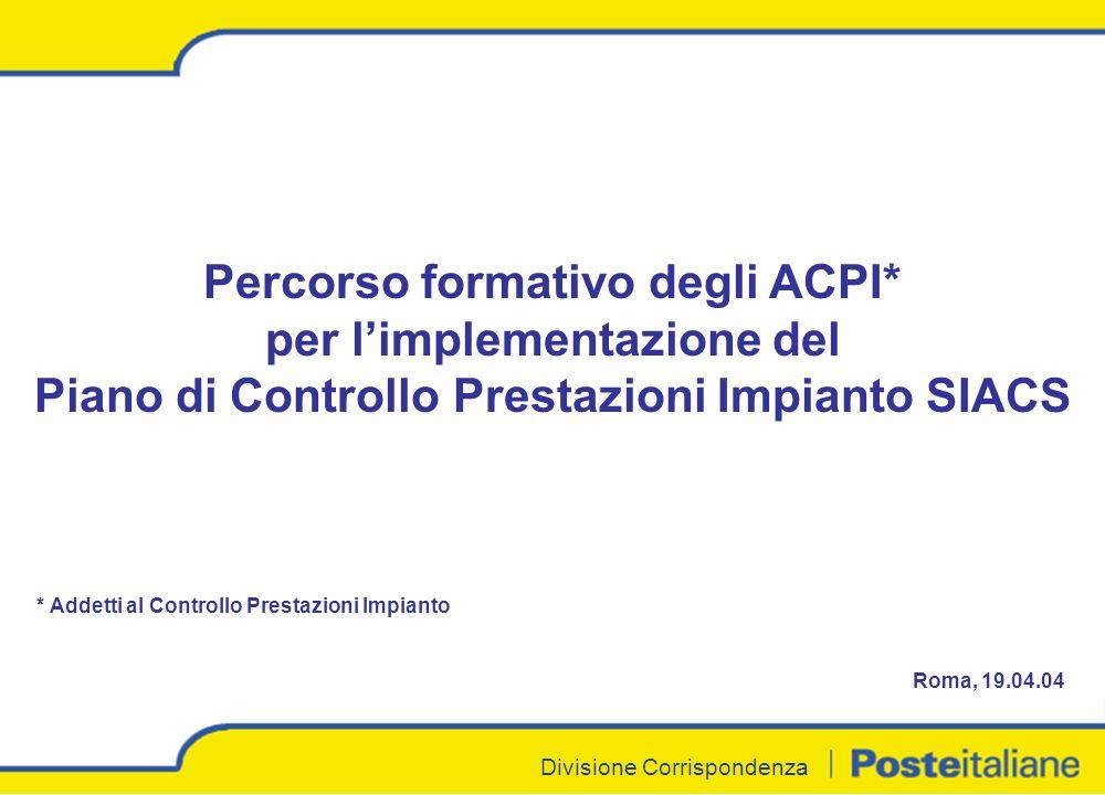 Divisione Corrispondenza Percorso formativo degli ACPI* per limplementazione del Piano di Controllo Prestazioni Impianto SIACS * Addetti al Controllo Prestazioni Impianto Roma, 19.04.04