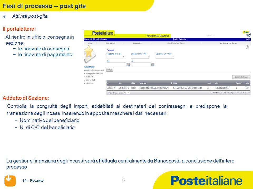 SP – Recapito 5 Fasi di processo – post gita Al rientro in ufficio, consegna in sezione: le ricevute di consegna le ricevute di pagamento Il portalett