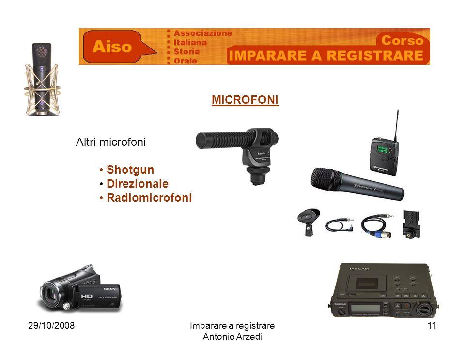 29/10/2008Imparare a registrare Antonio Arzedi 11 MICROFONI Altri microfoni Shotgun Direzionale Radiomicrofoni
