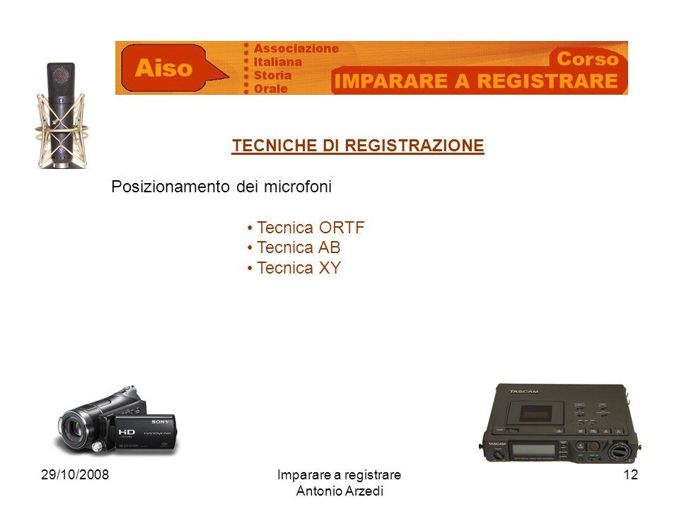 29/10/2008Imparare a registrare Antonio Arzedi 12 TECNICHE DI REGISTRAZIONE Posizionamento dei microfoni Tecnica ORTF Tecnica AB Tecnica XY