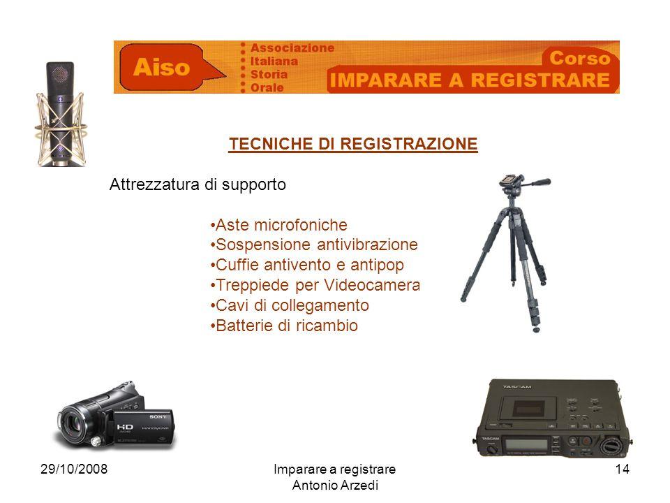 29/10/2008Imparare a registrare Antonio Arzedi 14 TECNICHE DI REGISTRAZIONE Attrezzatura di supporto Aste microfoniche Sospensione antivibrazione Cuff