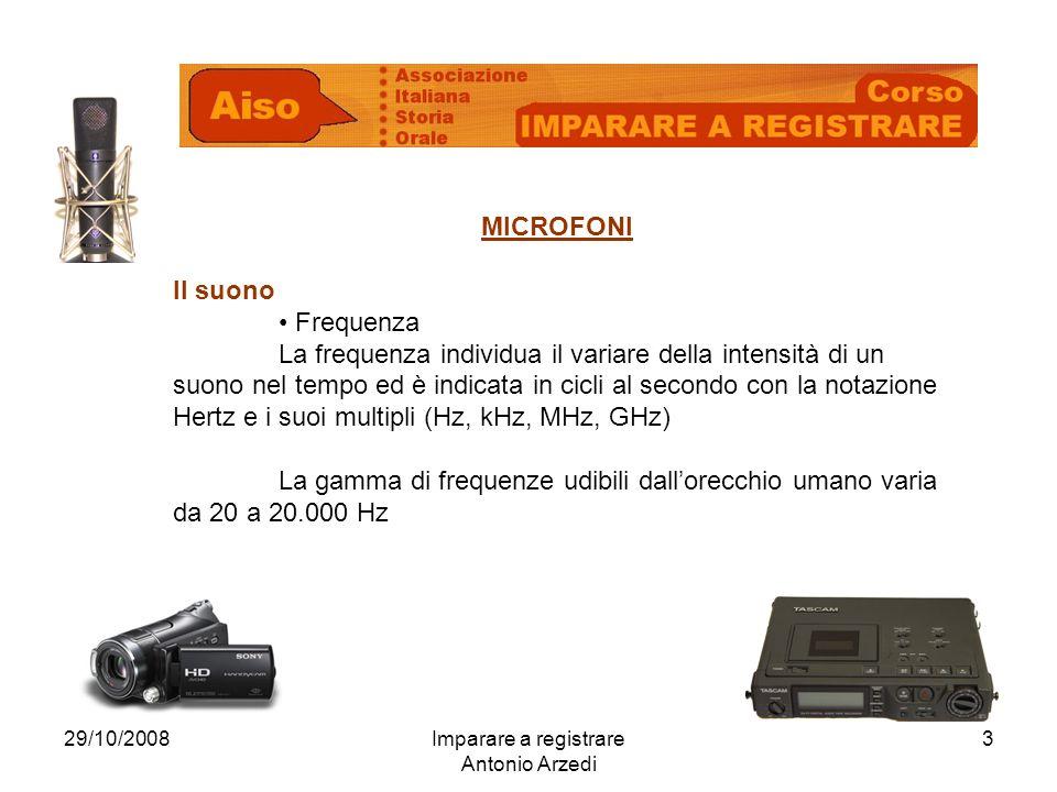 29/10/2008Imparare a registrare Antonio Arzedi 3 MICROFONI Il suono Frequenza La frequenza individua il variare della intensità di un suono nel tempo
