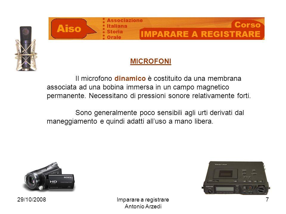29/10/2008Imparare a registrare Antonio Arzedi 7 MICROFONI Il microfono dinamico è costituito da una membrana associata ad una bobina immersa in un ca