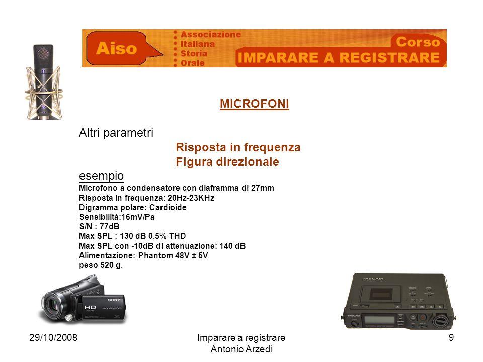 29/10/2008Imparare a registrare Antonio Arzedi 9 MICROFONI Altri parametri Risposta in frequenza Figura direzionale esempio Microfono a condensatore c