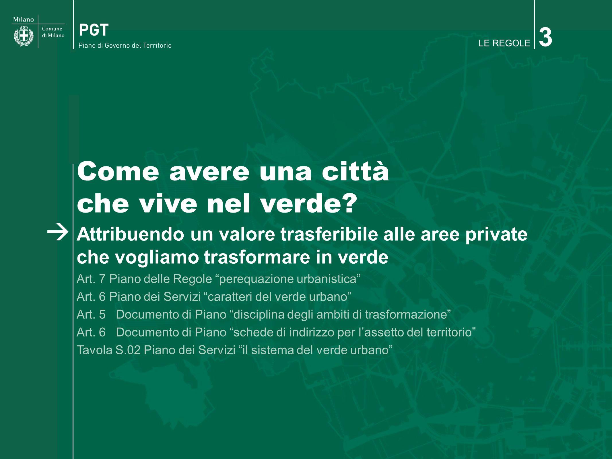 LE REGOLE 3 Come avere una città che vive nel verde? Attribuendo un valore trasferibile alle aree private che vogliamo trasformare in verde Art. 7 Pia