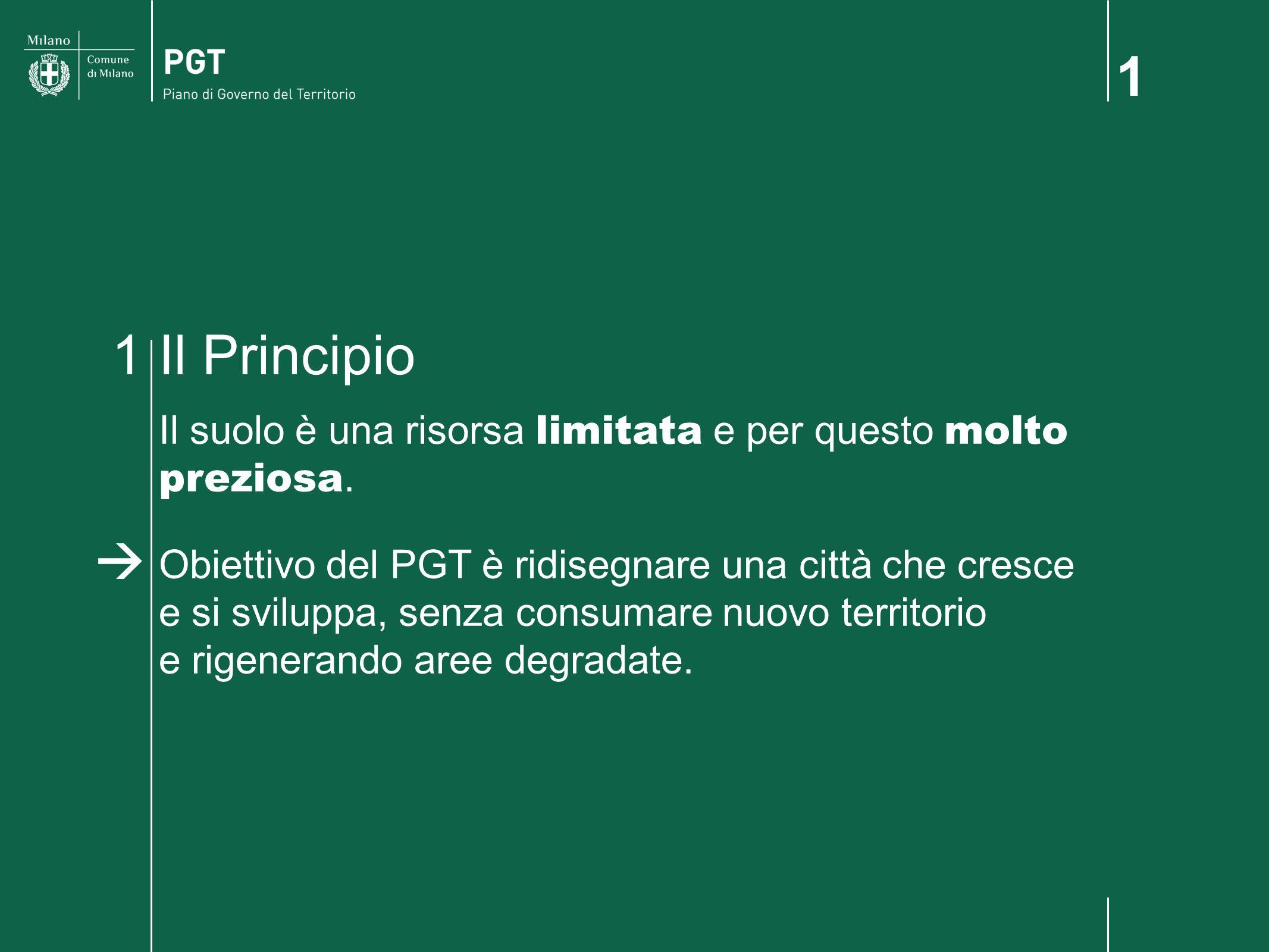 1 Il Principio1 Il suolo è una risorsa limitata e per questo molto preziosa. Obiettivo del PGT è ridisegnare una città che cresce e si sviluppa, senza