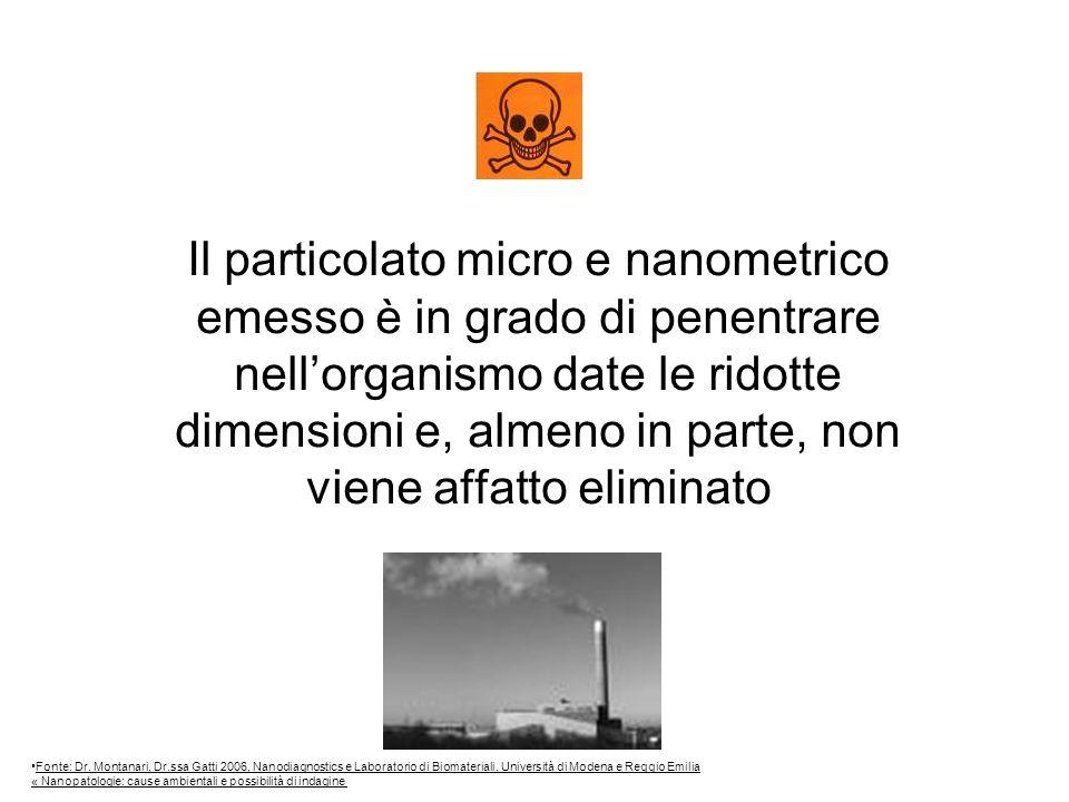 Il particolato micro e nanometrico emesso è in grado di penentrare nellorganismo date le ridotte dimensioni e, almeno in parte, non viene affatto eliminato Fonte: Dr.