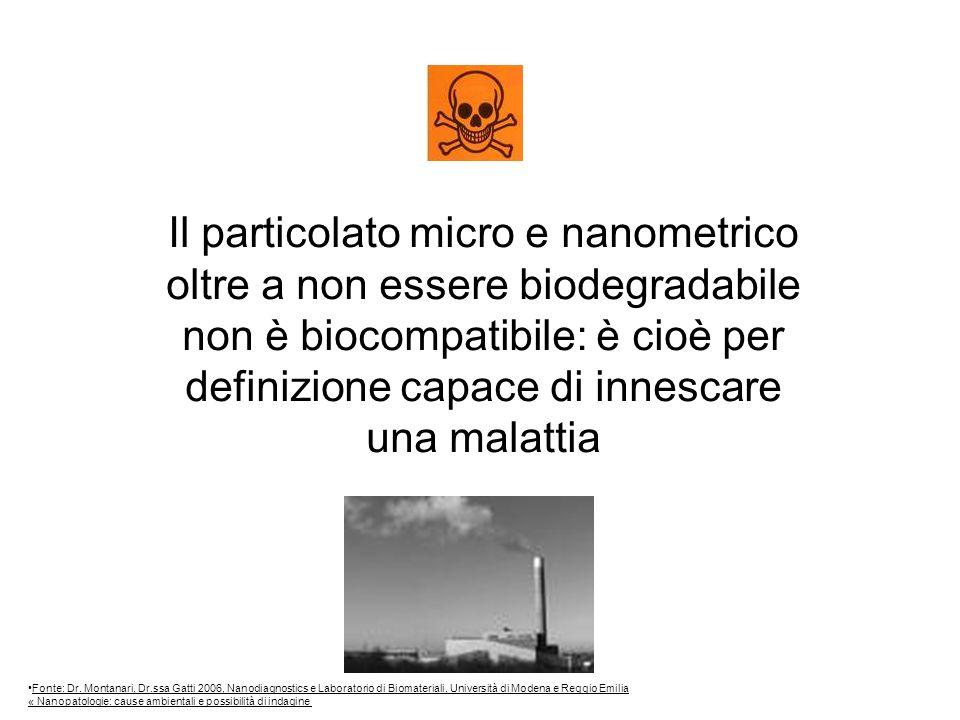 Il particolato micro e nanometrico oltre a non essere biodegradabile non è biocompatibile: è cioè per definizione capace di innescare una malattia Fonte: Dr.
