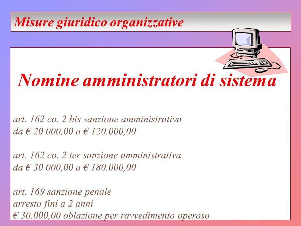 Nomine amministratori di sistema art. 162 co. 2 bis sanzione amministrativa da 20.000,00 a 120.000,00 art. 162 co. 2 ter sanzione amministrativa da 30