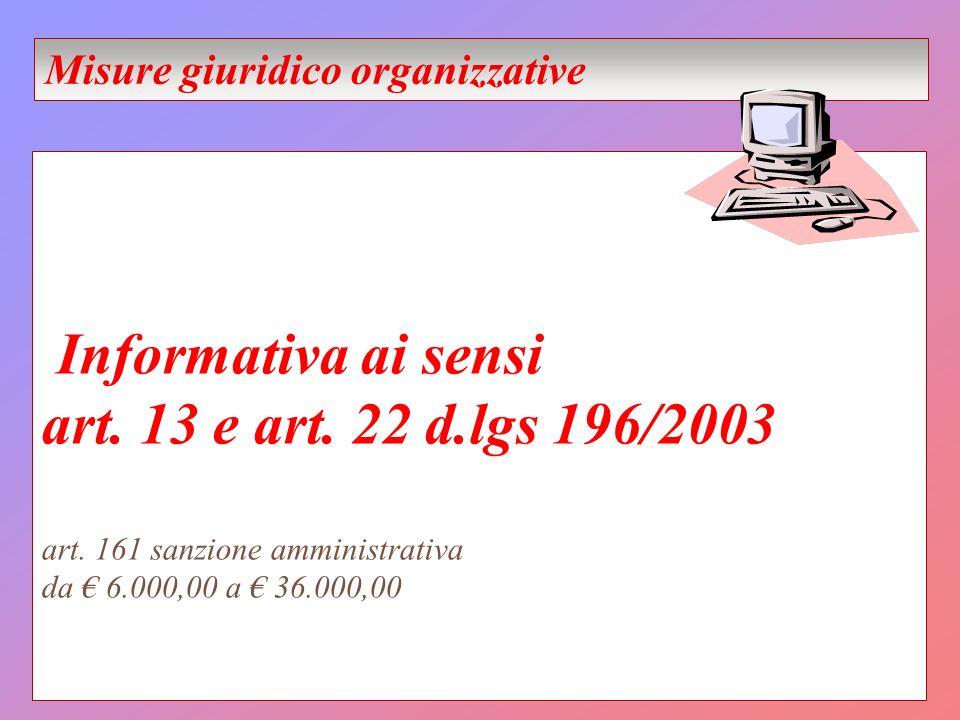 Informativa ai sensi art. 13 e art. 22 d.lgs 196/2003 art. 161 sanzione amministrativa da 6.000,00 a 36.000,00 Misure giuridico organizzative