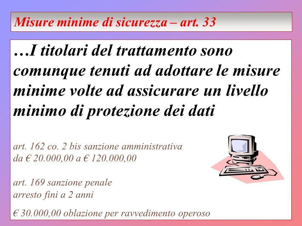 …I titolari del trattamento sono comunque tenuti ad adottare le misure minime volte ad assicurare un livello minimo di protezione dei dati art.
