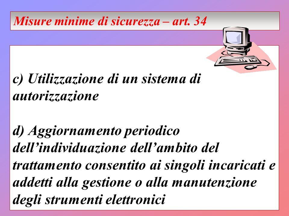 c) Utilizzazione di un sistema di autorizzazione d) Aggiornamento periodico dellindividuazione dellambito del trattamento consentito ai singoli incari