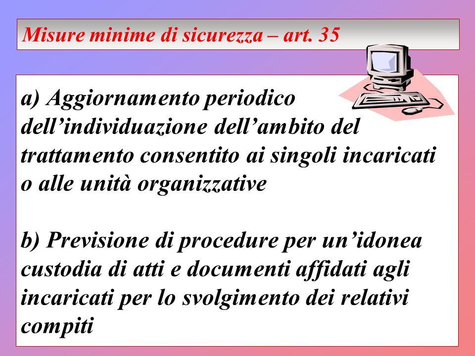a) Aggiornamento periodico dellindividuazione dellambito del trattamento consentito ai singoli incaricati o alle unità organizzative b) Previsione di
