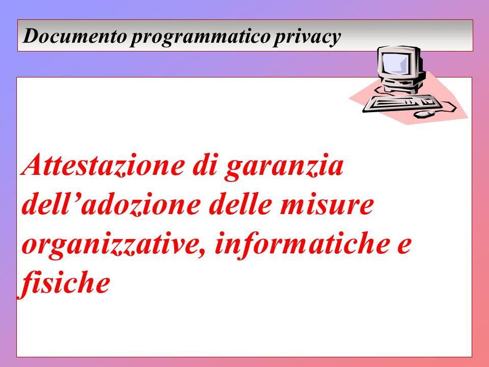 Attestazione di garanzia delladozione delle misure organizzative, informatiche e fisiche Documento programmatico privacy