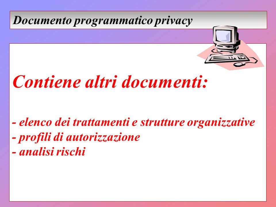 Contiene altri documenti: - elenco dei trattamenti e strutture organizzative - profili di autorizzazione - analisi rischi Documento programmatico priv