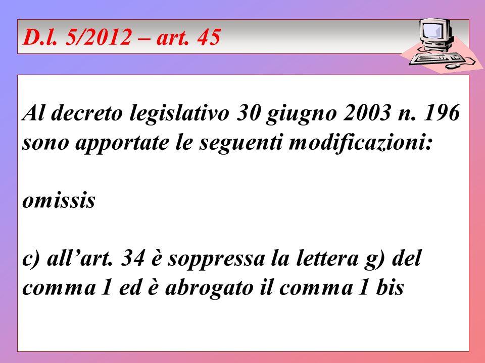 Al decreto legislativo 30 giugno 2003 n. 196 sono apportate le seguenti modificazioni: omissis c) allart. 34 è soppressa la lettera g) del comma 1 ed