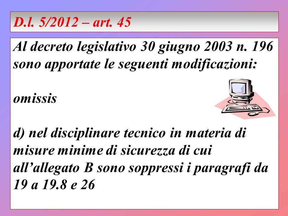 Al decreto legislativo 30 giugno 2003 n. 196 sono apportate le seguenti modificazioni: omissis d) nel disciplinare tecnico in materia di misure minime