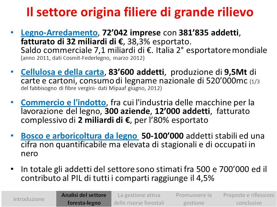 Consistenza dei boschi italiani Lestensione dei boschi italiani ha raggiunto il 35% della superficie territoriale, ed è in espansione da decenni La superficie è triplicata rispetto al 1920 e raddoppiata rispetto al 1950.