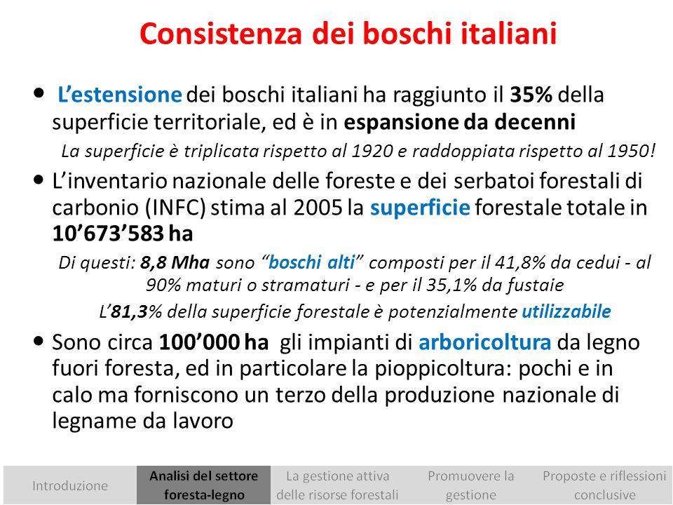I più recenti dati disponibili Fonte: ISTAT - Tavola F01A UTILIZZAZIONI LEGNOSE, Anno 2010 - IFNI 2005