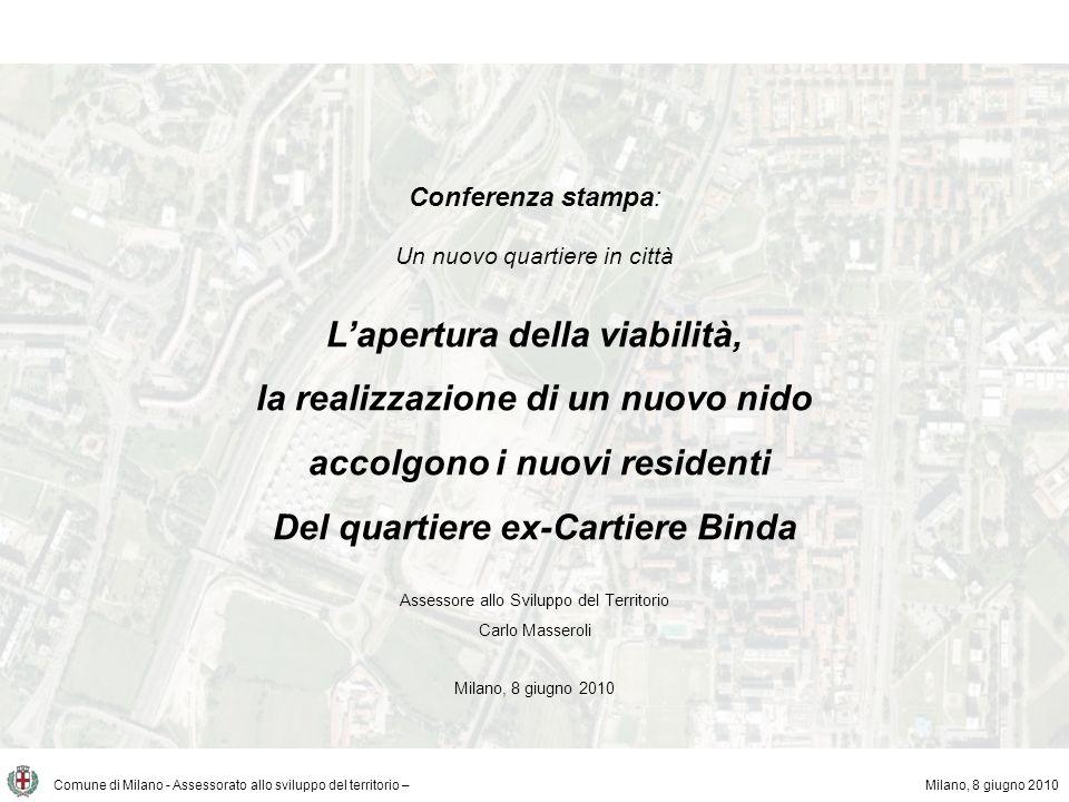 Comune di Milano - Assessorato allo sviluppo del territorio – Lambito di riferimento Milano, 8 giugno 2010