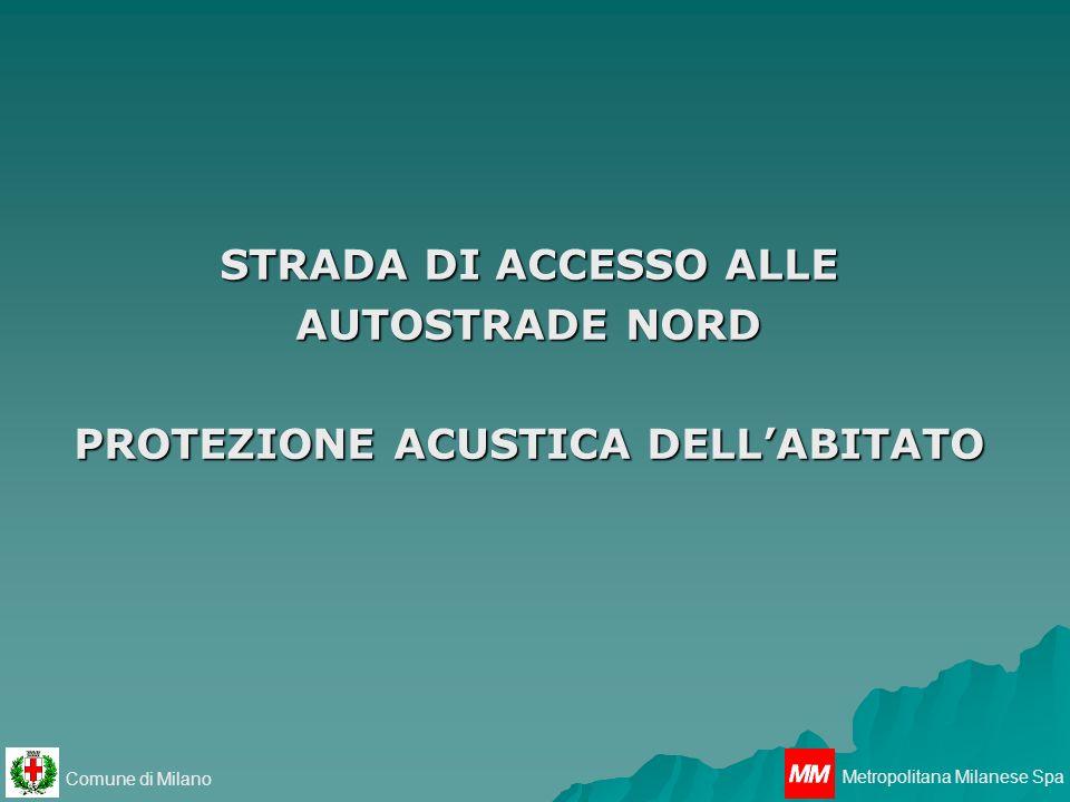 Comune di Milano Metropolitana Milanese Spa LOTTO 1 STRADA DI ACCESSO ALLE AUTOSTRADE NORD PROTEZIONE ACUSTICA DELLABITATO STESA DI ASFALTO FONOASSORBENTE LAVORI COMPLETATI LOTTO 2 REALIZZAZIONE BARRIERE ACUSTICHE PROGETTO DEFINITIVO COMPLETATO STATO DI AVANZAMENTO