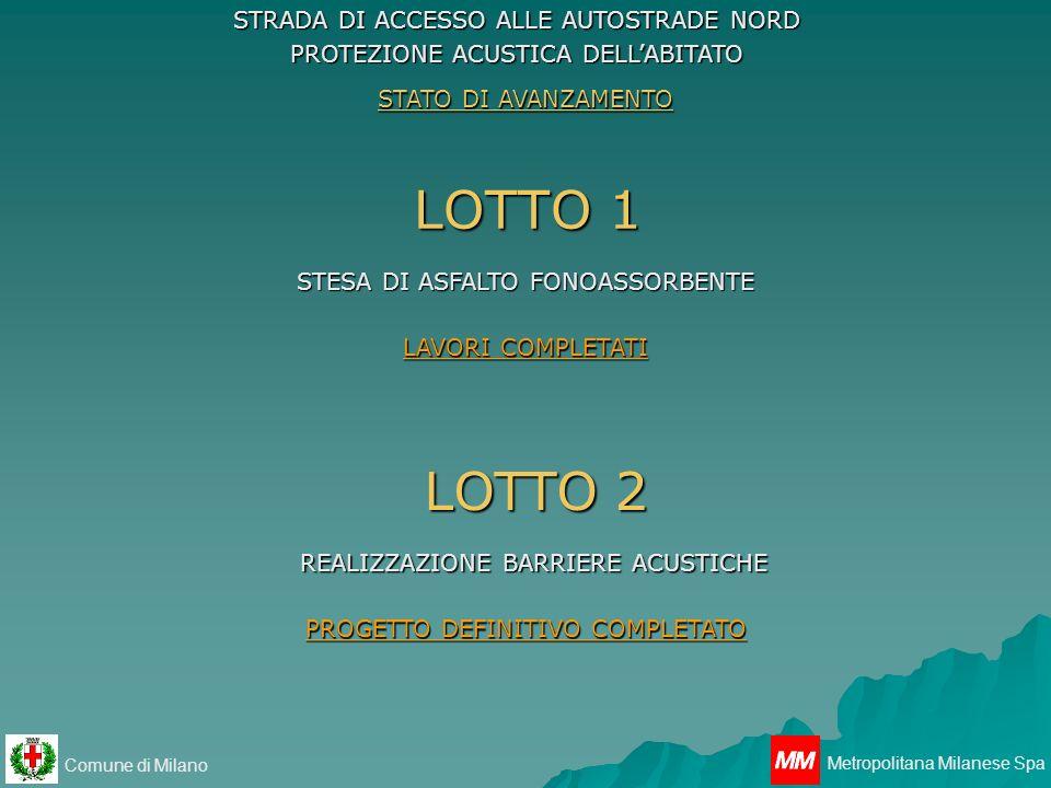 Comune di Milano Metropolitana Milanese Spa LOTTO 1 STRADA DI ACCESSO ALLE AUTOSTRADE NORD PROTEZIONE ACUSTICA DELLABITATO STESA DI ASFALTO FONOASSORB