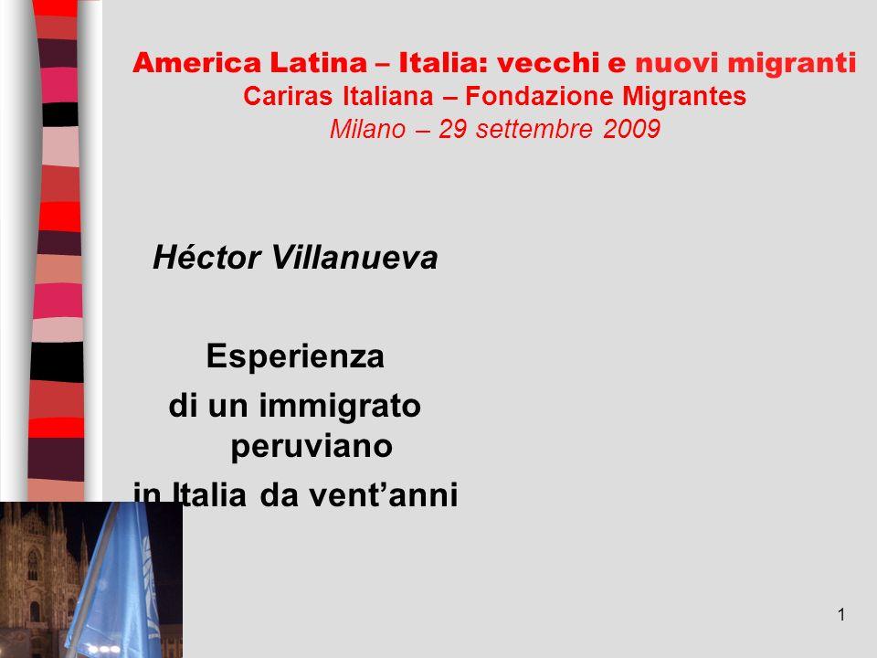 1 America Latina – Italia: vecchi e nuovi migranti Cariras Italiana – Fondazione Migrantes Milano – 29 settembre 2009 Héctor Villanueva Esperienza di