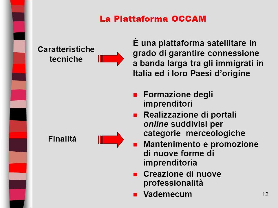 12 La Piattaforma OCCAM Caratteristiche tecniche È una piattaforma satellitare in grado di garantire connessione a banda larga tra gli immigrati in It