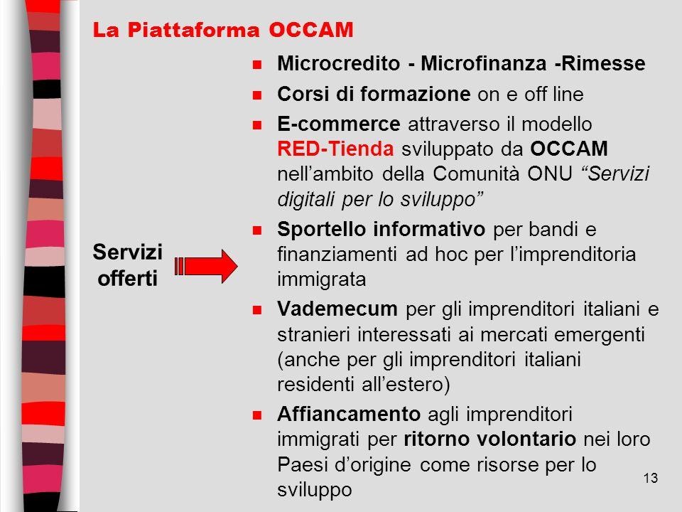 13 n Microcredito - Microfinanza -Rimesse n Corsi di formazione on e off line n E-commerce attraverso il modello RED-Tienda sviluppato da OCCAM nellam