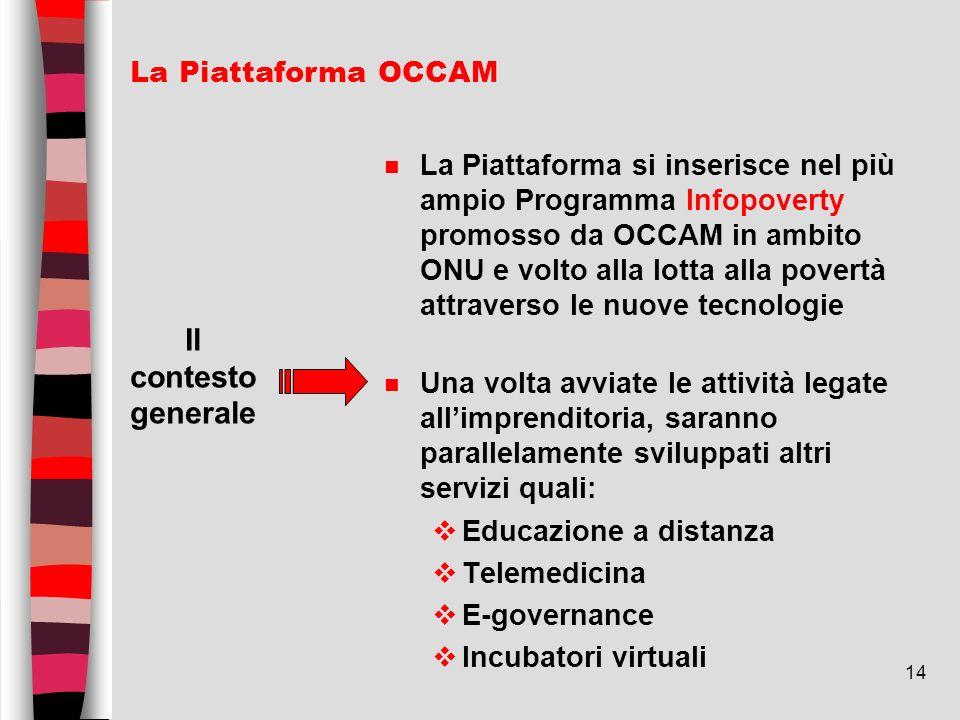 14 n La Piattaforma si inserisce nel più ampio Programma Infopoverty promosso da OCCAM in ambito ONU e volto alla lotta alla povertà attraverso le nuo