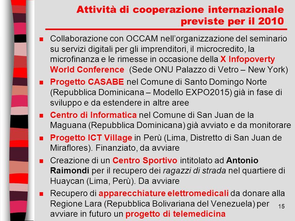 15 Attività di cooperazione internazionale previste per il 2010 n Collaborazione con OCCAM nellorganizzazione del seminario su servizi digitali per gl