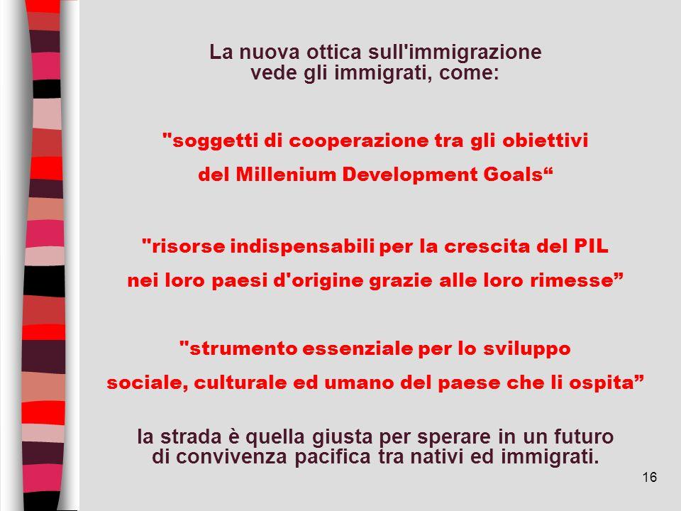16 La nuova ottica sull'immigrazione vede gli immigrati, come: