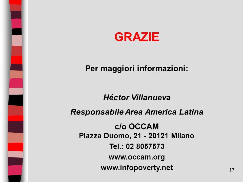17 GRAZIE Per maggiori informazioni: Héctor Villanueva Responsabile Area America Latina c/o OCCAM Piazza Duomo, 21 - 20121 Milano Tel.: 02 8057573 www