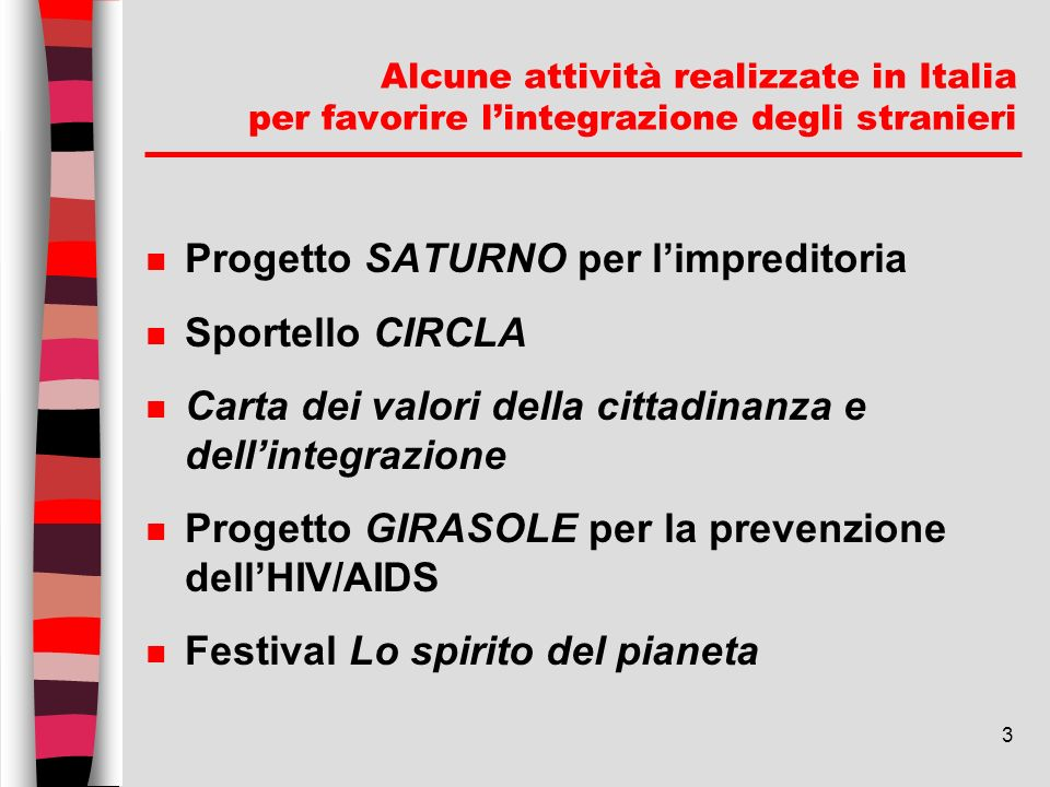 3 Alcune attività realizzate in Italia per favorire lintegrazione degli stranieri n Progetto SATURNO per limpreditoria n Sportello CIRCLA n Carta dei
